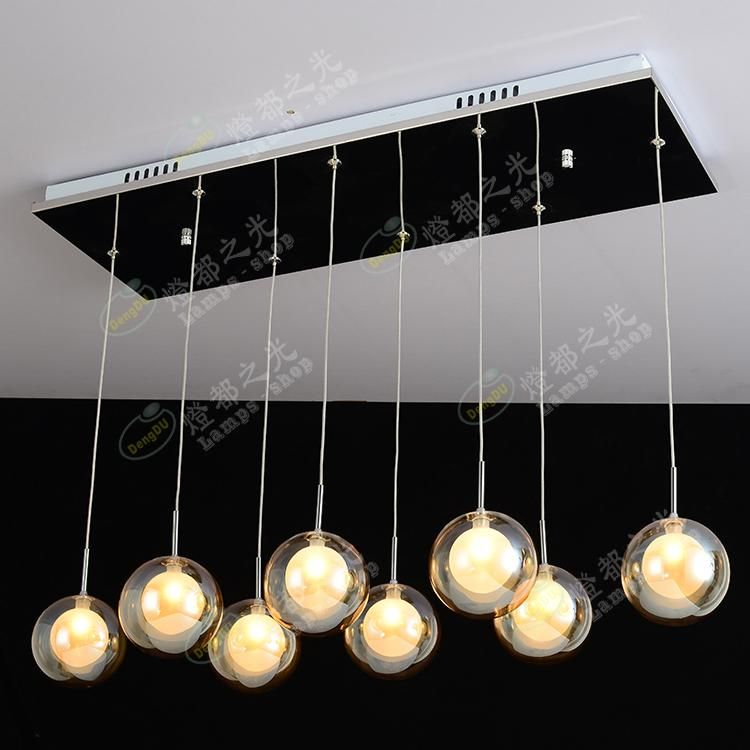 pendant lamp bar stairs 8 head Simple modern pendant lights entrance hall lamp LED creative glass bubble ball ZL325