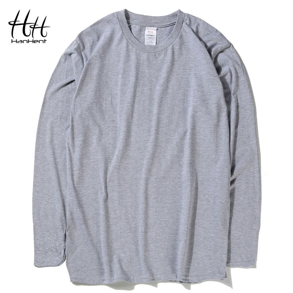 HanHent Mode-klassiker Baumwolle T-shirts Männer einfarbig Langarm Oansatz T-shirts Neue Herbst Frühling Bodybuilding Grundlegende T shirts
