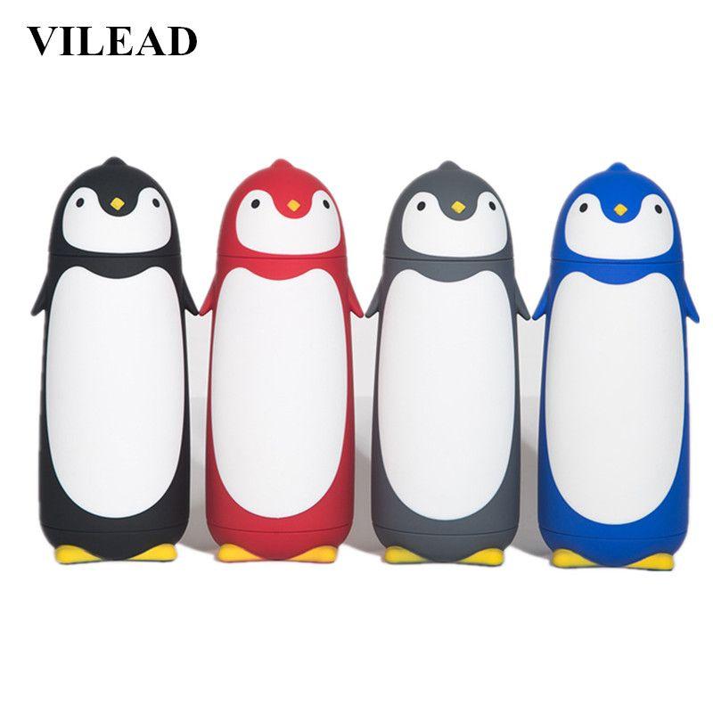 VILEAD pingouin Thermos en acier inoxydable flacons sous vide dessin animé thermotasse Portable isolé thermique tasse enfants bouteille à boire
