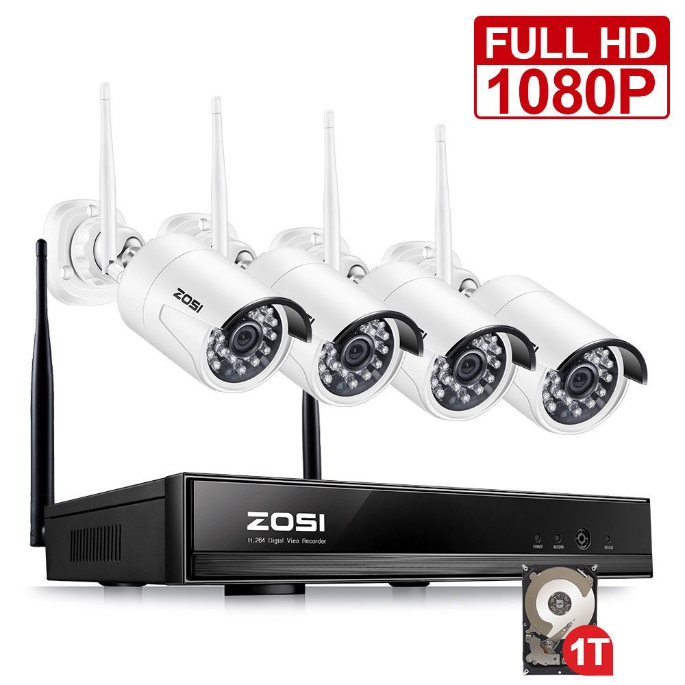 ZOSI 1080P HD Wi-Fi Wireless Security Camera System 4CH 1080P HDMI NVR With 1TB HDD and (4) HD 2.0MP Indoor/Outdoor IP Cameras