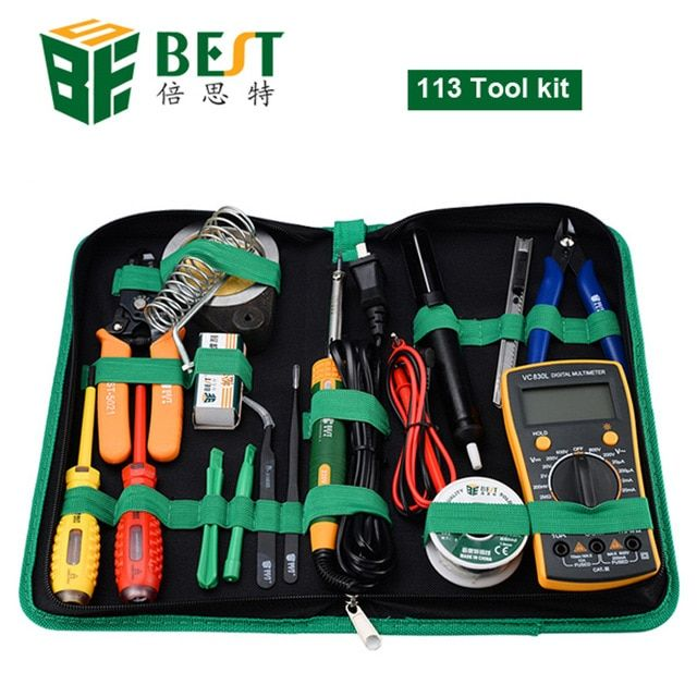 16 In 1 Household Professional Tool With Screwdrivers Soldering Iron Multimeter And Tweezers For Phone Laptop Pc Repair Celular