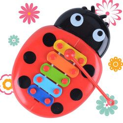 2018 Musical Toy Percussion Kid Music Instrument Cute Cartoon Inset Beetle kid Early Learning Educational Fun Toy Random Color