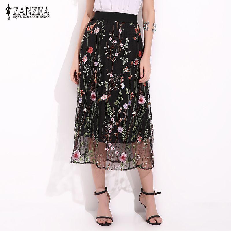 ZANZEA Mujeres Faldas de Moda de Verano 2017 Bordado Floral de La Vendimia de Malla Falda Larga Negro Superposición Línea Ladies Falda de Midi