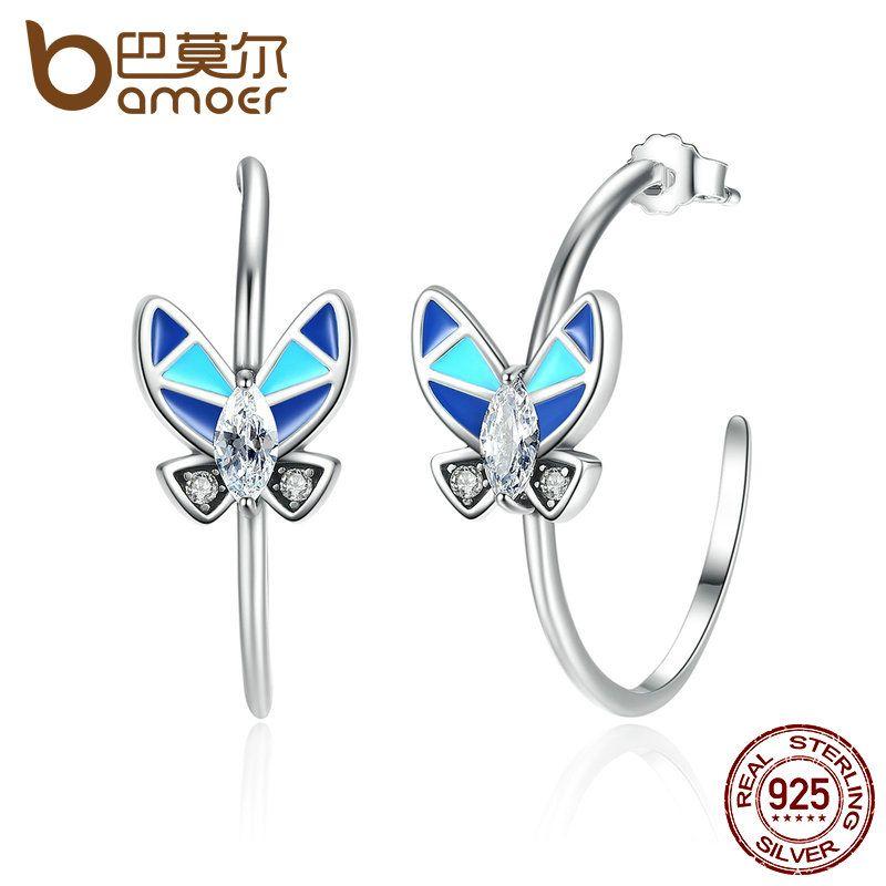 BAMOER Vintage 100% 925 Sterling Silver Round Circle Earrings with Blue Butterfly Women Drop Earrings Jewelry SCE017
