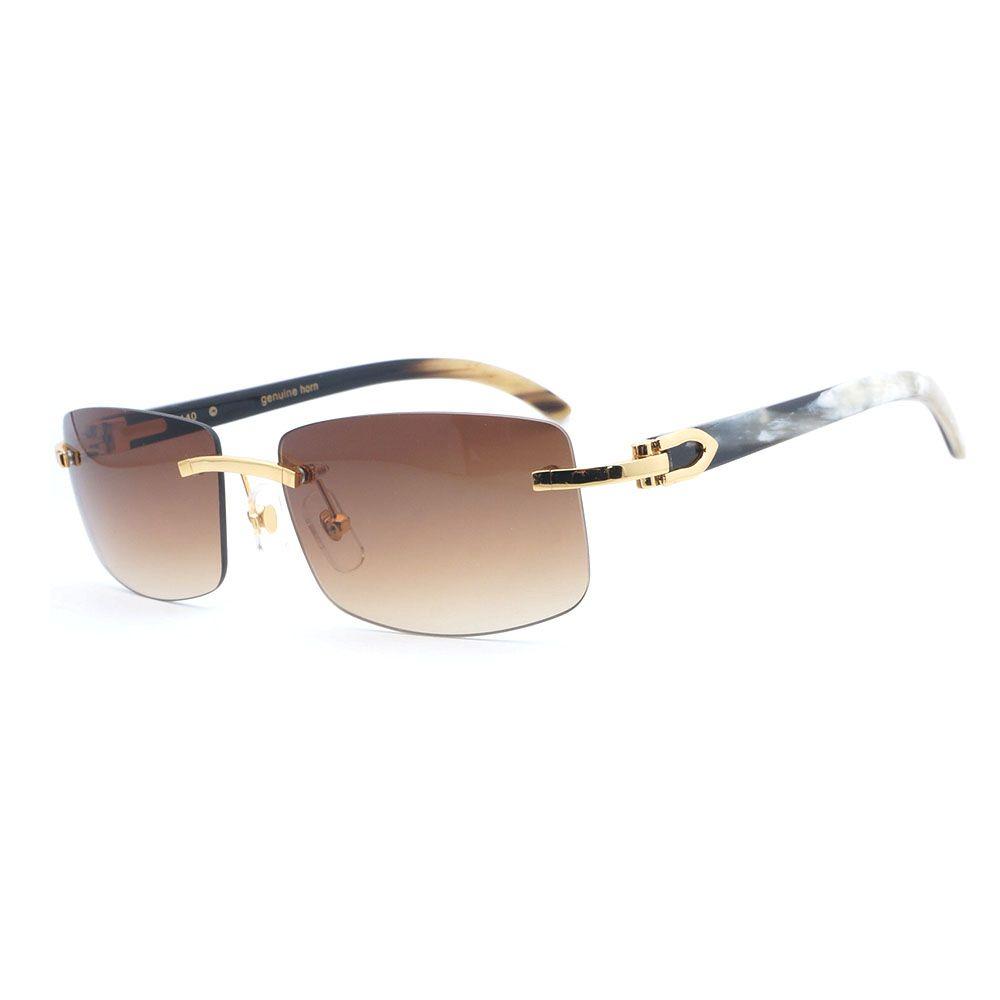 Retro Sonnenbrille Männer Weiß Mix Schwarz Büffelhorn Gläser Männer Schattierungen für Fahren Reisen Luxus Randlose Rosa Sonnenbrille Carter