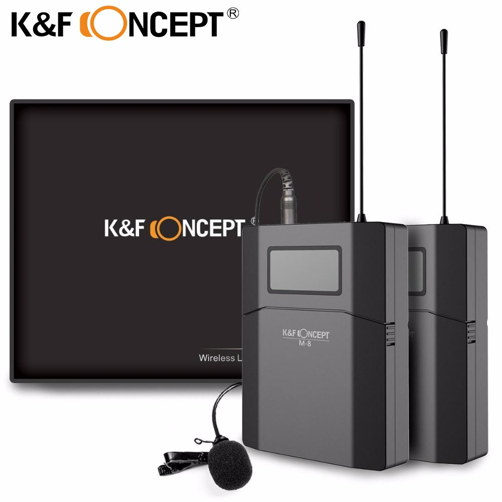 K&F CONCEPT 70M Camera Microphone Wireless Lavalier Mic Receiver +Transmitter Record Radio Professional low Noise DSLR Microfone