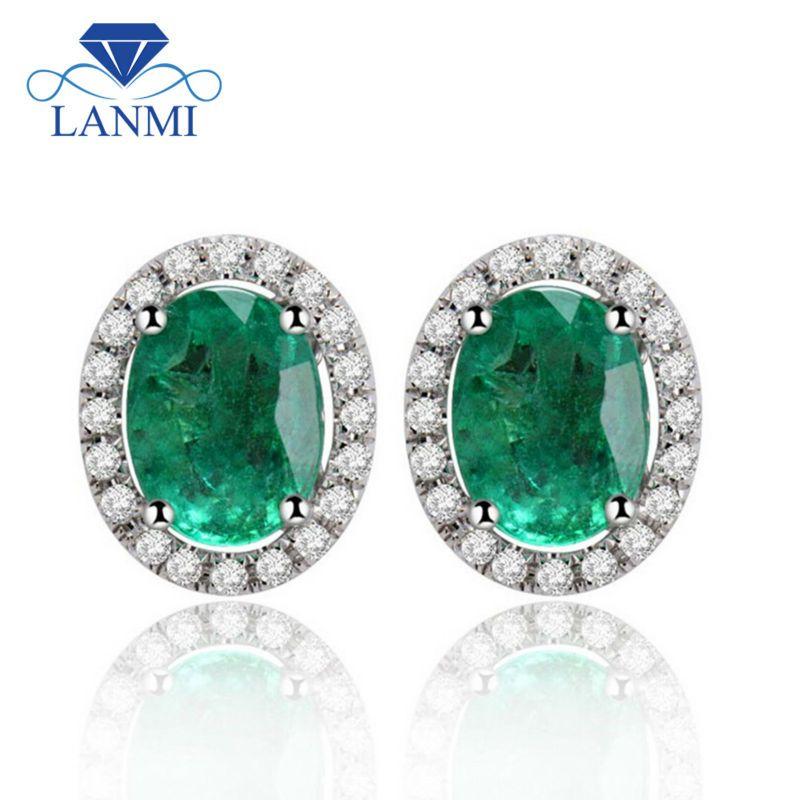 Fine Jewelry Solid 14Kt White Gold Colombian Emerald Earrings, 585 Gold Diamond Emerald Stud Earring For Sale E53