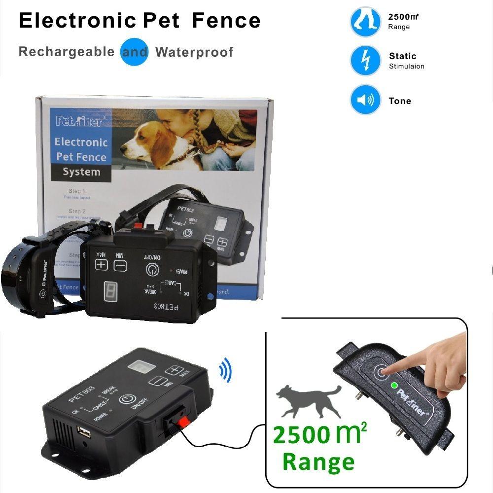 Neueste art Petrainer PET803 Wasserdichte Nachladbare Elektrische Haustier Zaun Hund Erziehungshalsband