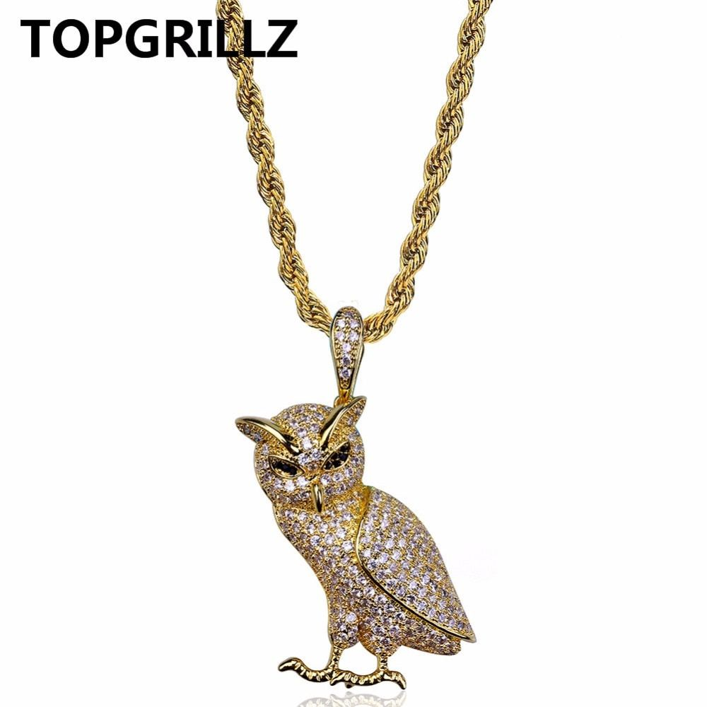 TOPGRILLZ Hip Hop New Style Necklace Copper Gold/Silver Color Iced Out Micro Pave CZ Stone Owl Pendant Necklaces 60cm Rope Chain