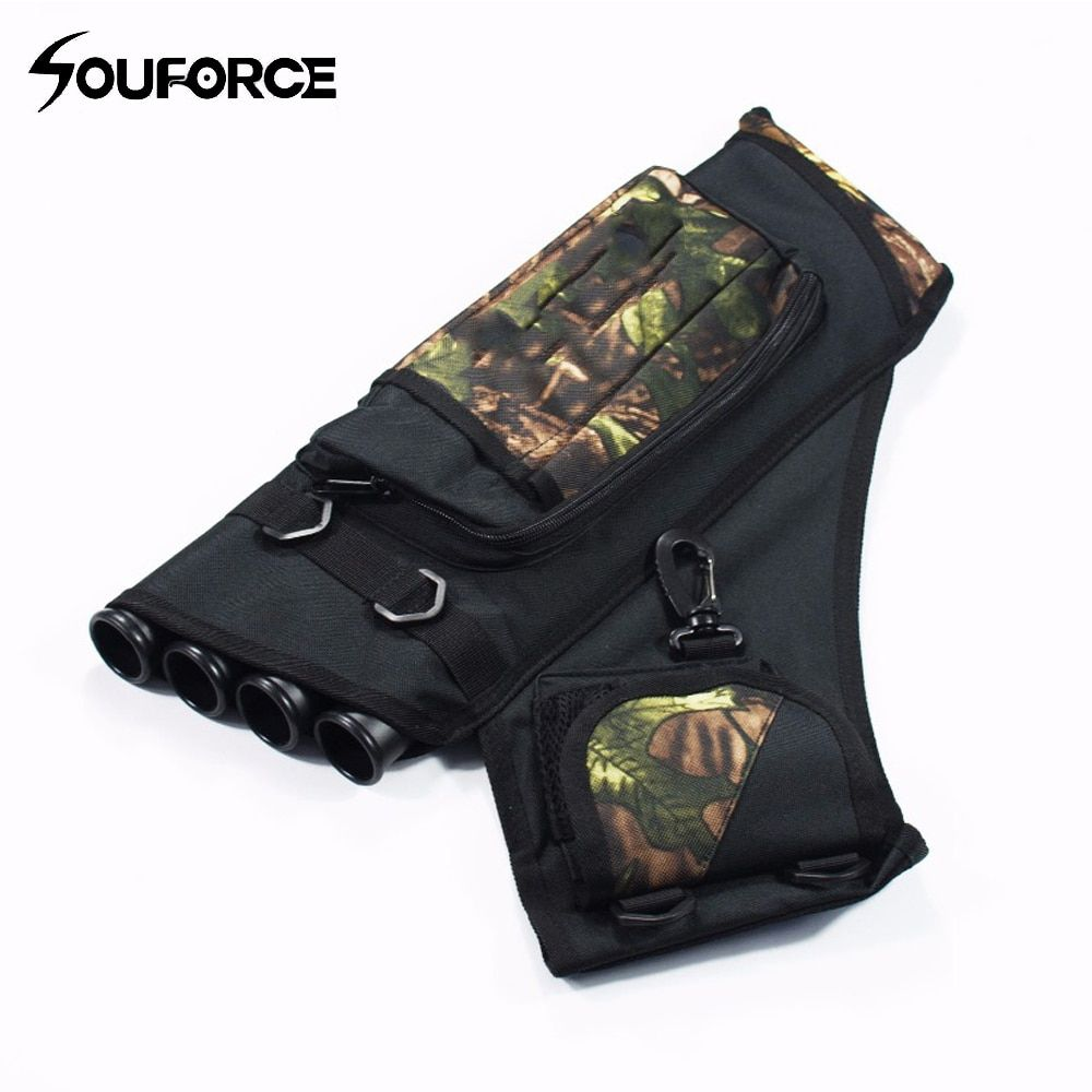 Archery Quiver 4 Tubes Arrow Quiver Waterproof Bag in Camouflage Arrows Holder Bag for Reverse Bow Hunting Shooting