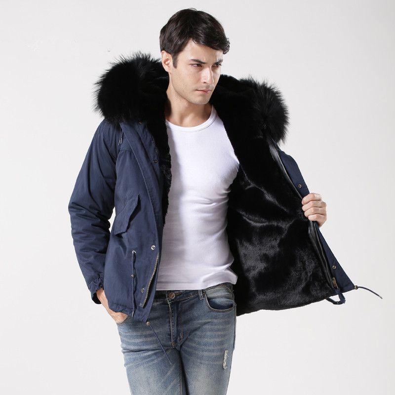2017 Wintermantel Männer Blau Mode Warme Jacke Mens Arbeitskleidung, Winddicht Pelz Gefüttert Fell Mantel
