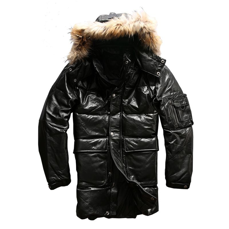 high quality super warm genuine cow skin duck down leather jacket mens casual cowhide leather duck down jacket