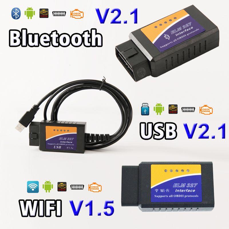 Viecar USB Bluetooth WIFI ELM327 OBD2 / OBDII ELM 327 V1.5 / V2.1 for Android IOS Auto Diagnostic Scanner Tool