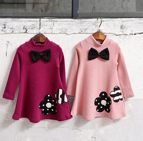 2018 Hiver Automne Filles Robe Épaissir Filles Chaud Coton Enfants Robe Mignon Style Confortable matériel Filles Vêtements