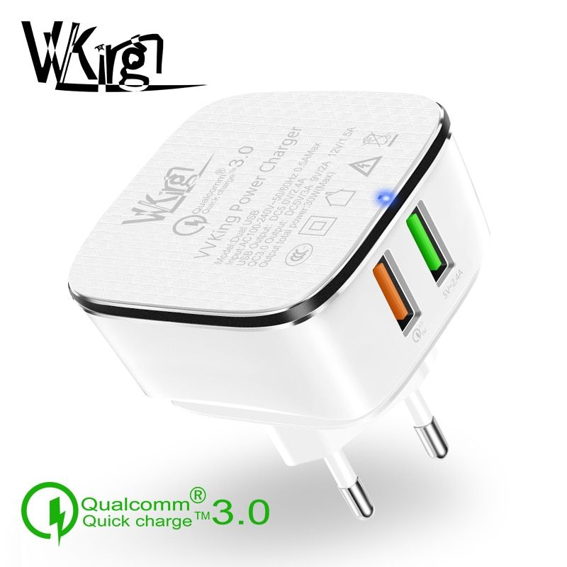 VVKing Quick Charge 3.0 Dual USB Charger 30W Fast Charging For iPhone Samsung Xiaomi Huawei LG G6 QC3.0 2 USB Charger EU US Plug