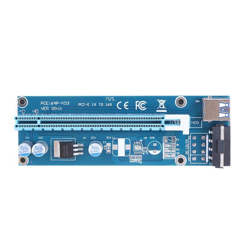 PCI-E 1x zu 16x Bergbau Maschine Verbesserte Extender Riser-karten-adapter mit 60 cm USB 3.0 & SATA 4pin IDE molex Power Kabel