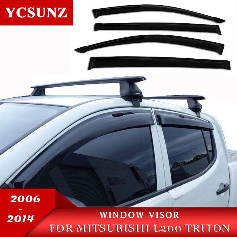 Pluie Fenêtre Visière Déflecteur De Vent Pour Mitsubishi L200 Triton 2006 2007 2008 2009 2010 2012 2013 2014 Double Cabine