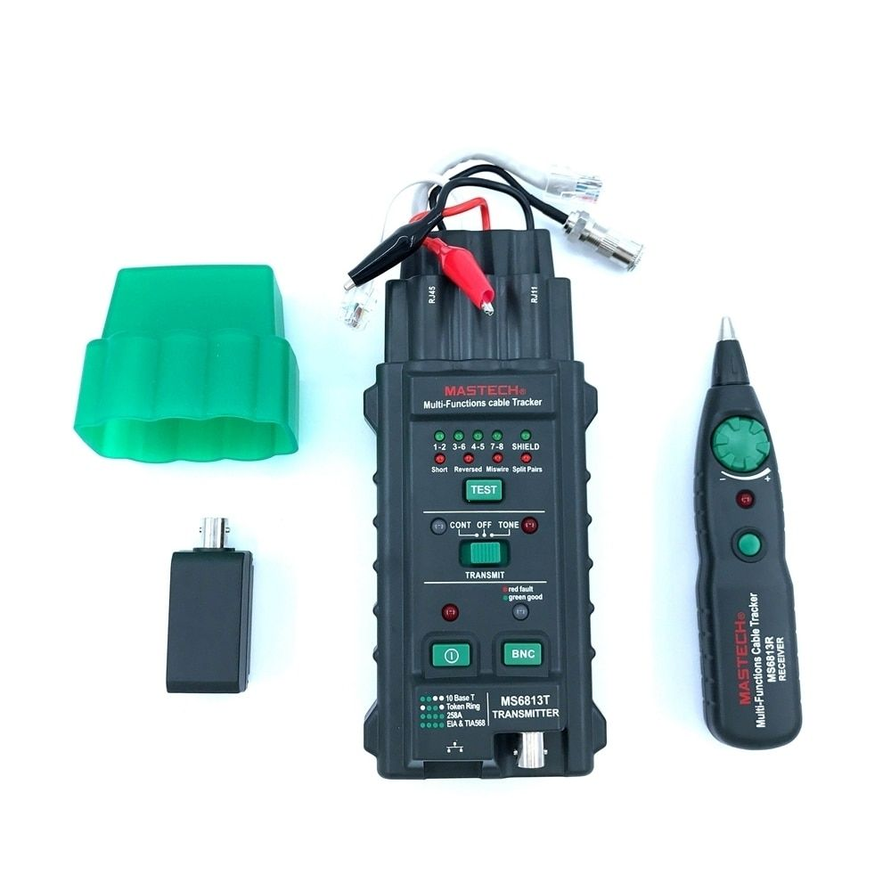 Mastech MS6813 Multi-functional Vector Cable Tracker Network Analyzer RJ45 RJ11 NBC Short Reversed Miswire Split Pairs Tester
