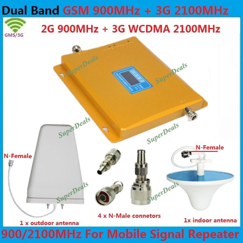 Hot LCD GSM 3G Cellular Signal Repeater GSM 900 3G UMTS 2100 Dual Band Cellphone Amplifier 900mhz 2100mhz 20dBm Mobile Boosters