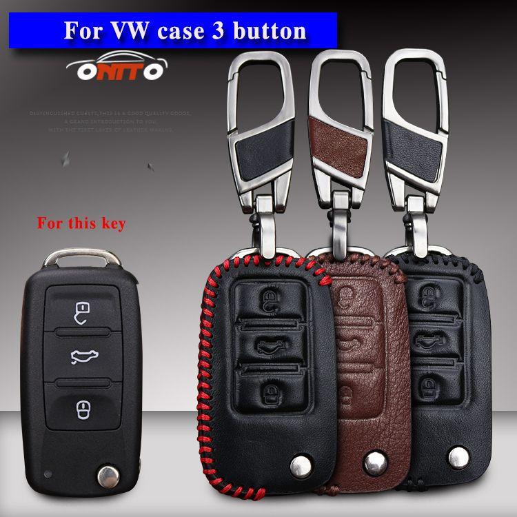 Leather Car Key Cover Case For Skoda Octavia Q5 1 2 3 A5 Fabia Superb Rapid Citigo Yeti For Volkswagen VW Jetta mk6