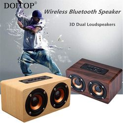 DOITOP Wooden Bluetooth HIFI Wireless Subwoofer Speaker 3D Stereo Dual Loudspeakers Surround Speaker Support TF Long Playtime