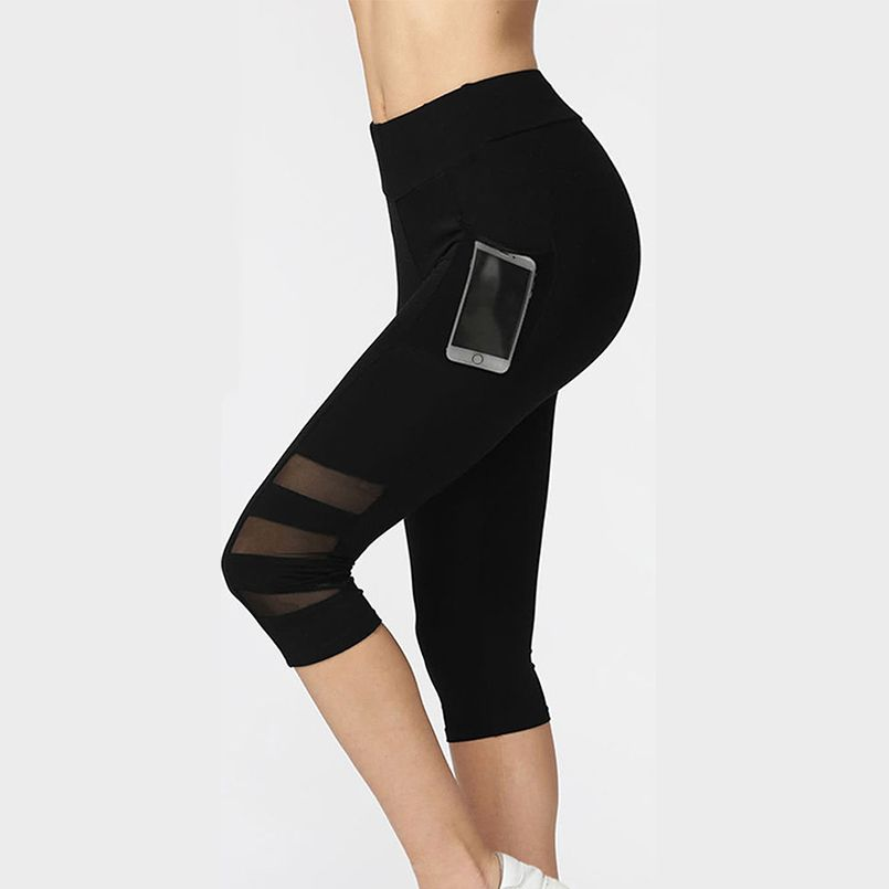 Women Legging Ptachwork Mesh Black Capri Leggings Plus Size Sexy Fitness Sporting Pants with Pocket Mid-Calf Trousers jegging