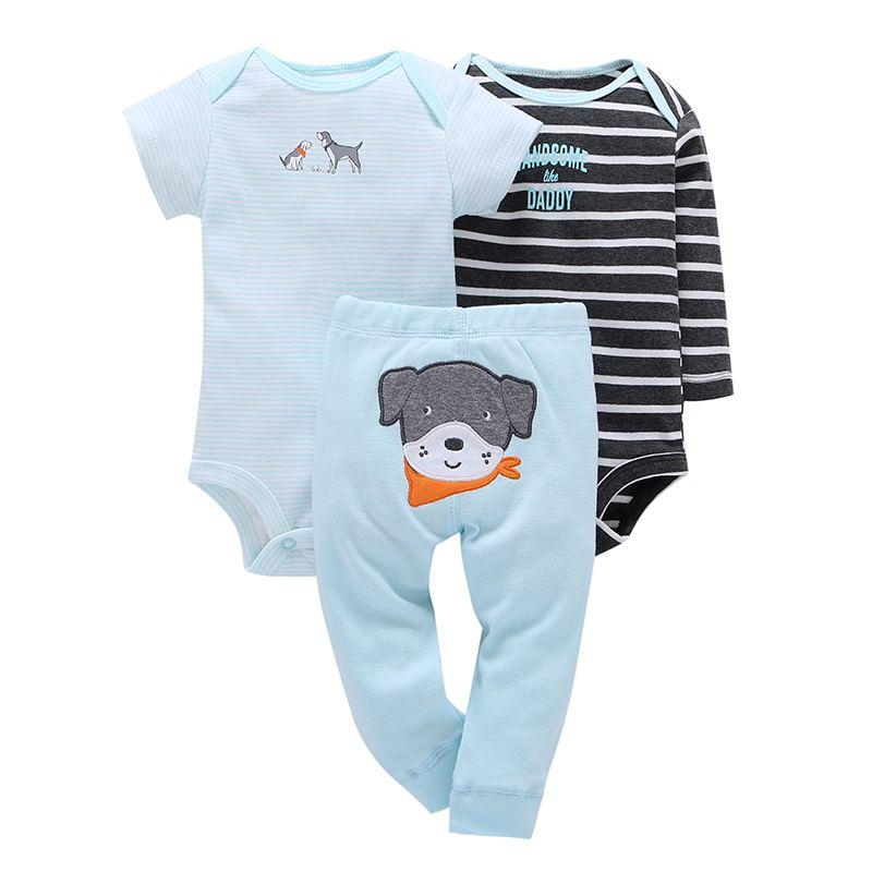Bébé nouvelle offre spéciale coton polaire complet garçons fille vêtements ensemble 3 pièces/ensemble chien pantalon + 2 pièces escalade vêtements 0-2y 2019 printemps costume