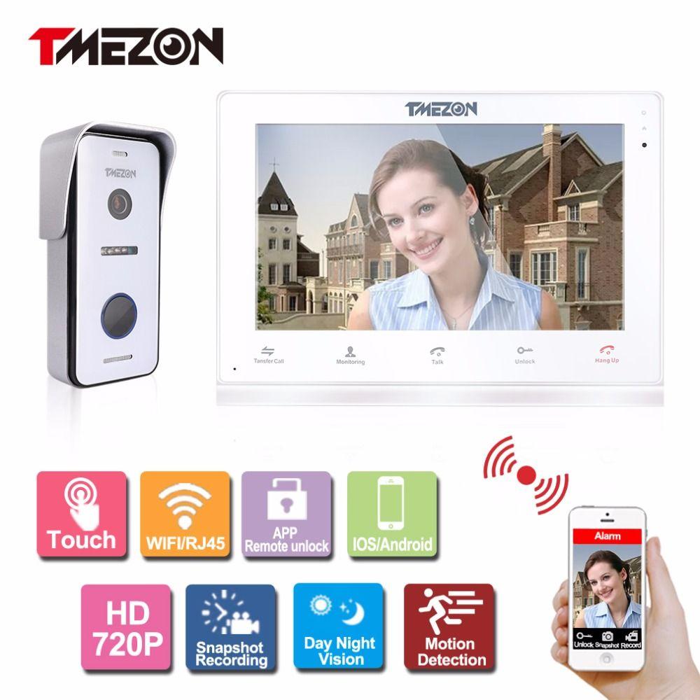 Tmezon IP Video Door Phone Intercom System 10 Inch Wireless/Wired WIFI/RJ45 Indoor Touch Monitor HD 720P Outdoor Doorbell Camera