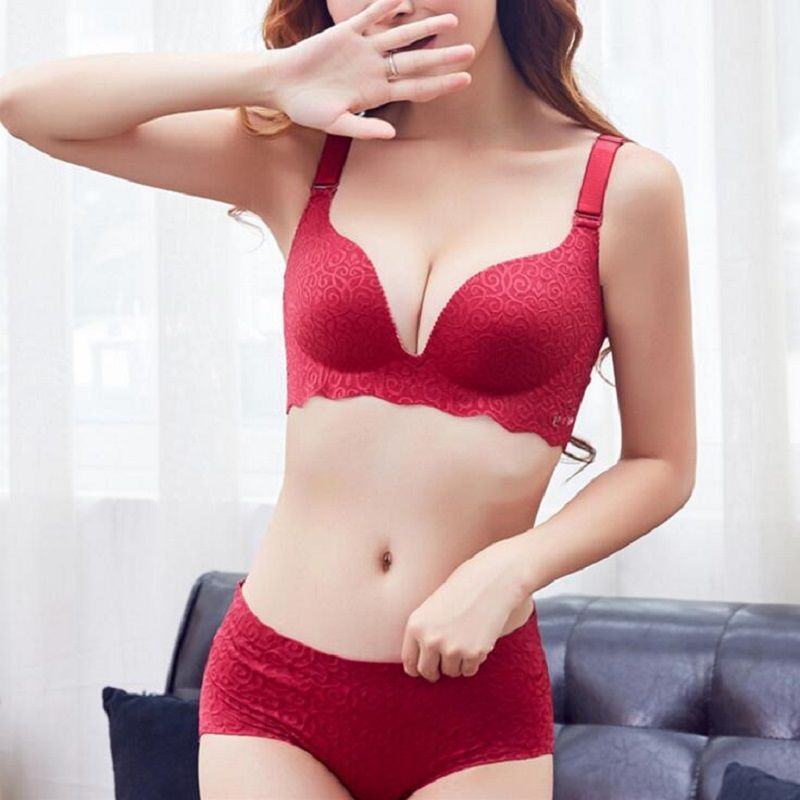 new jacquard queen women underwear one piece seamless sexy push up bra set big size hollow out C D cup new fashion style