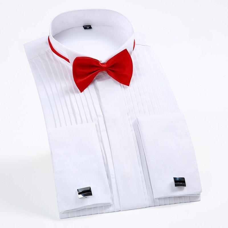 2017 Brand New Arrival Men's Tuxedo Shirt Men Long Sleeve Dress Shirt Mens Solid Color Turn-Down Collar Shirt Formal Male
