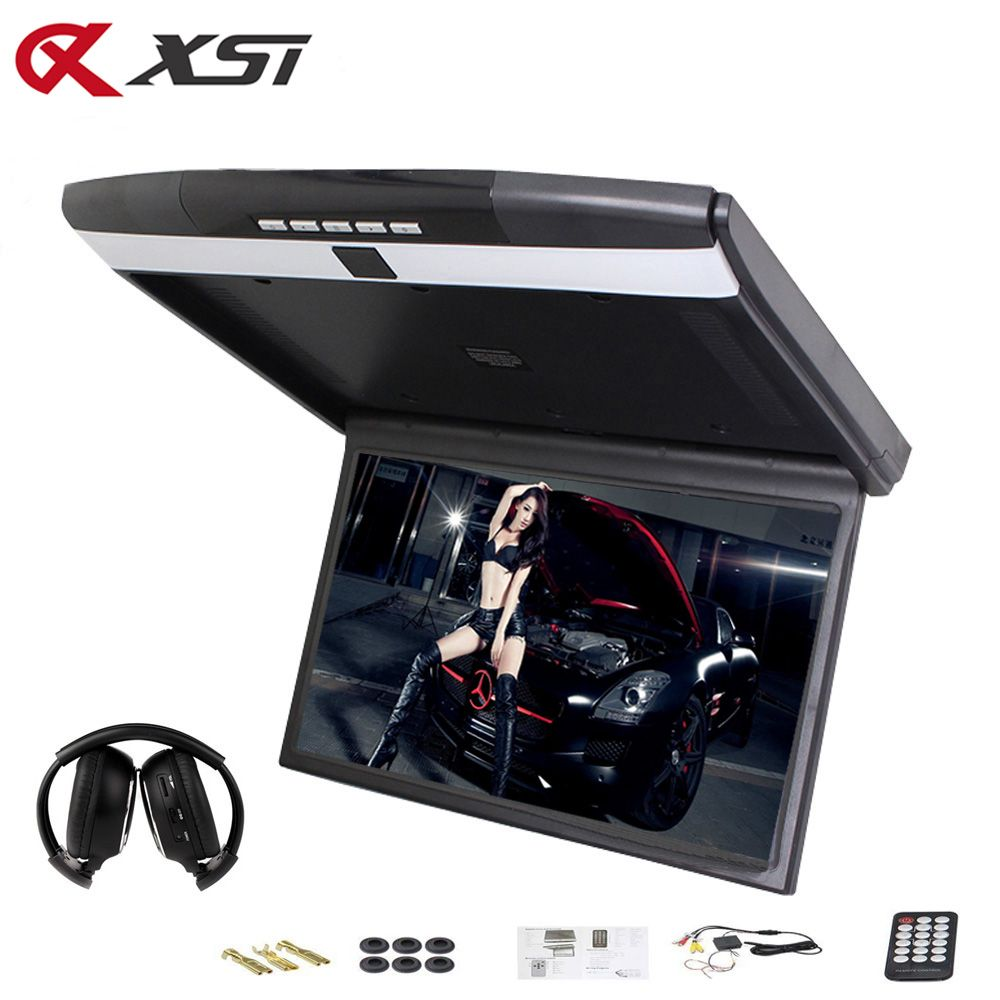 XST 17.3 Inch Car Roof Flip Down Ceiling Mount Monitor Support HD 1080P IR FM Transmitter USB SD HDMI Built Speaker Microphone