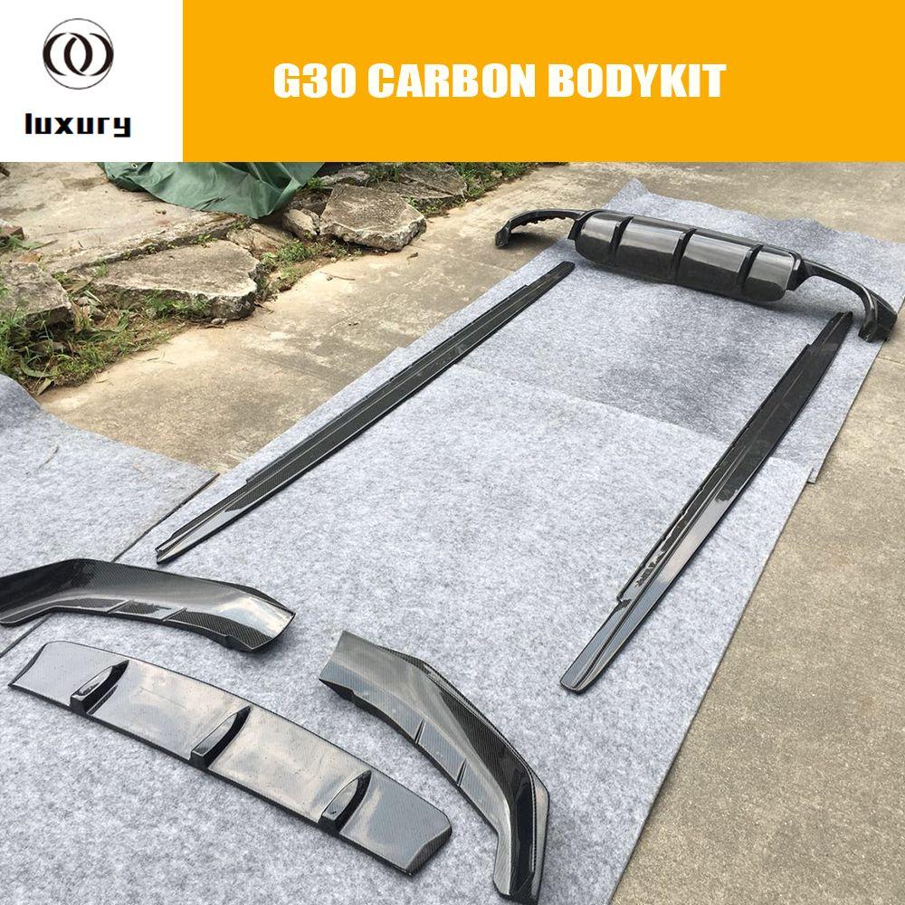 G30 Carbon Faser Bodykit Front Lip Hinten Diffusor Seite Rock für BMW G30 530 540 mit M Paket Auto Racing auto Styling Körper kit