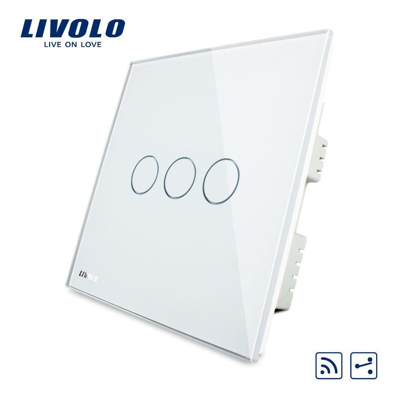 Livolo Remote Switch, White Crystal Glass Panel, AC220-250V,Wireless UK  Remote Home Light Switch,VL-C303SR-61/62/63,No remote