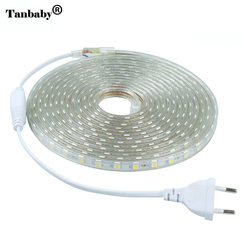 Tanbaby 220V SMD 5050 LED Strip light 60 LED/M IP67 Waterproof Outdoor Indoor Decoration Lighting Flexible <font><b>Ribbon</b></font> Tape + EU Plug