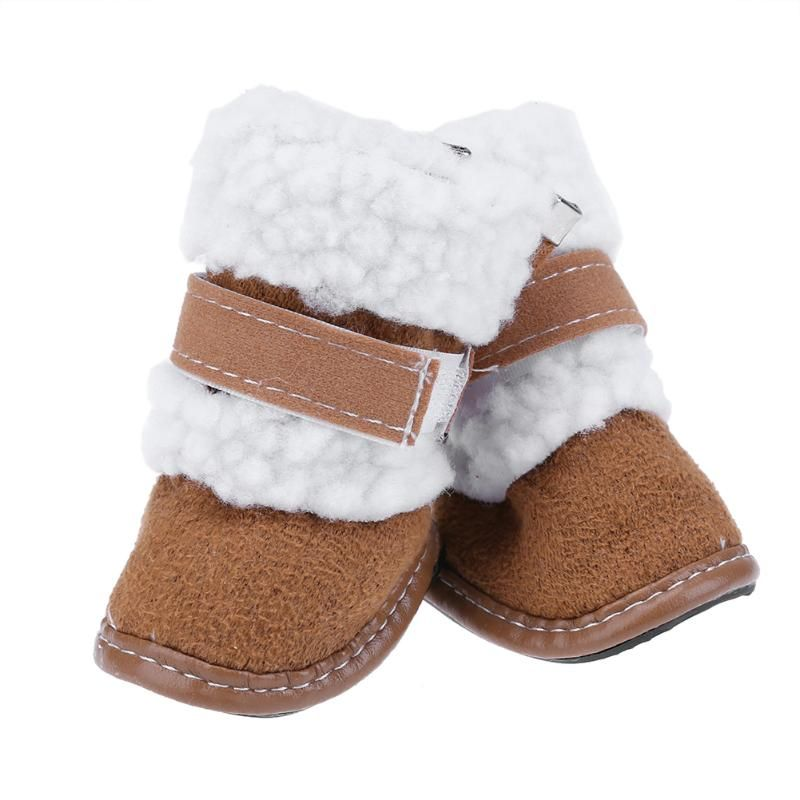 4 teile/satz Winter Warme Hund Schnee Stiefel Pet Schuhe für Kleine Hunde Katzen Anti-slip Stiefel Yorkshire Schnee Stiefel pet Produkte