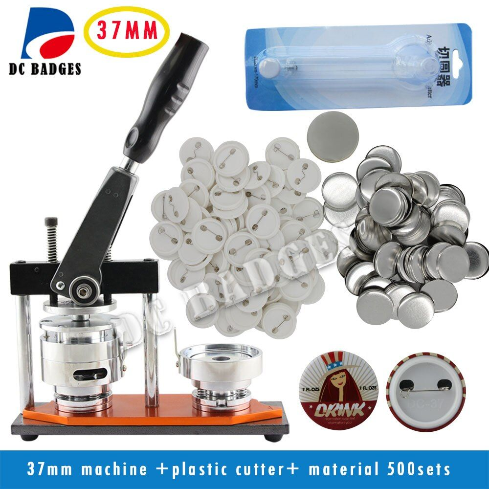 Free Shipping 37mm Badge Machine with 500sets pin Buttons+Circle Cutter   Button badge making machine pack