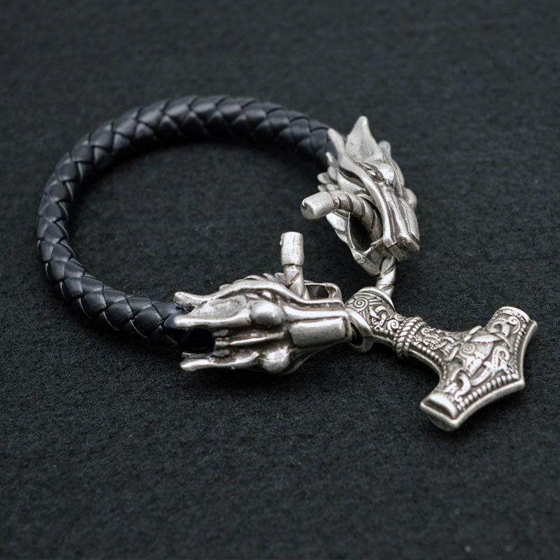 1 pcs Scandinave Viking Dragon Loup Bracelet Avec Thor Marteau Mjolnir Cadeau D'anniversaire de Bracelet Pour Hommes Viking Amulette Bijoux BT19