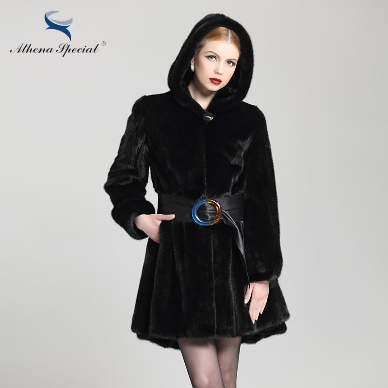 Athena Special 2018 Luxury Fashion Genuine Mink Coat, Black Hooded Mink Parka, Women's Real Natural Fur Coat Sale Free Shipping