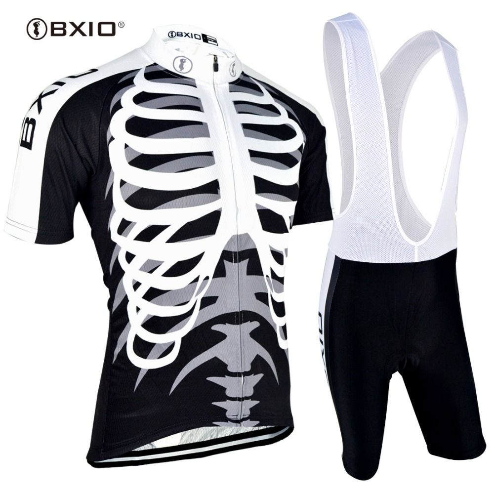 BXIO Cycling Jersey Set Skeleton Bicicleta Mountain Bike Summer Short Sleeves Bike Dress Skinsuit Mallot Ciclismo BX-0209H042