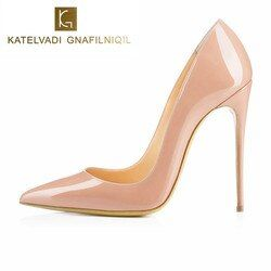 Brand Shoes Woman High Heels Pumps Nude High Heels 12CM Women Shoes High Heels Wedding Shoes Pumps Black Nude Shoes Heels B-0043