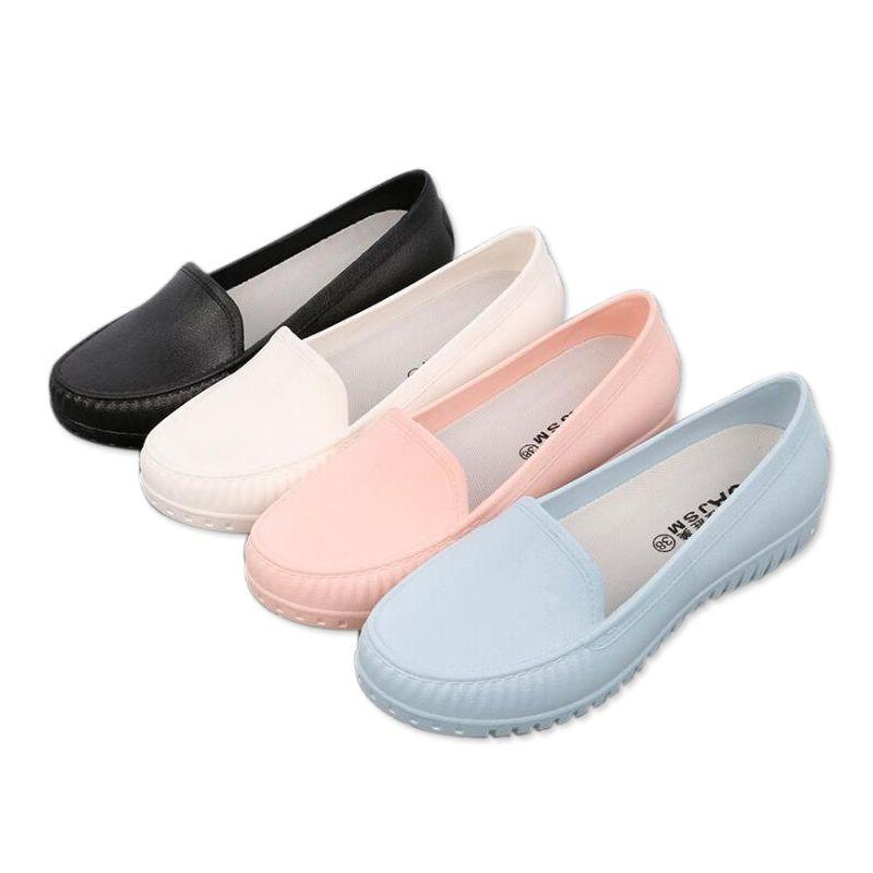 Mujeres rainboots zapatos de goma jardín qualtiy protectora de trabajo trabajo zapatos causales pisos de estudiantes impermeables bajos zapatos de chef de cocina