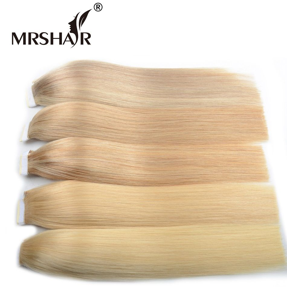 MRSHAIR Thick Machine Made Remy Blonde Human Hair Ponytails 18inches 22inches Brown Hair Clip In Ponytails Hairpieces Tail