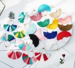 HC 22 Farben Frauen Böhmen Quaste Ohrringe Baumwolle Baumeln Ohr Schmuck Fashion Fringe Vintage Ohrringe Trendy Big Drop Ohrringe W