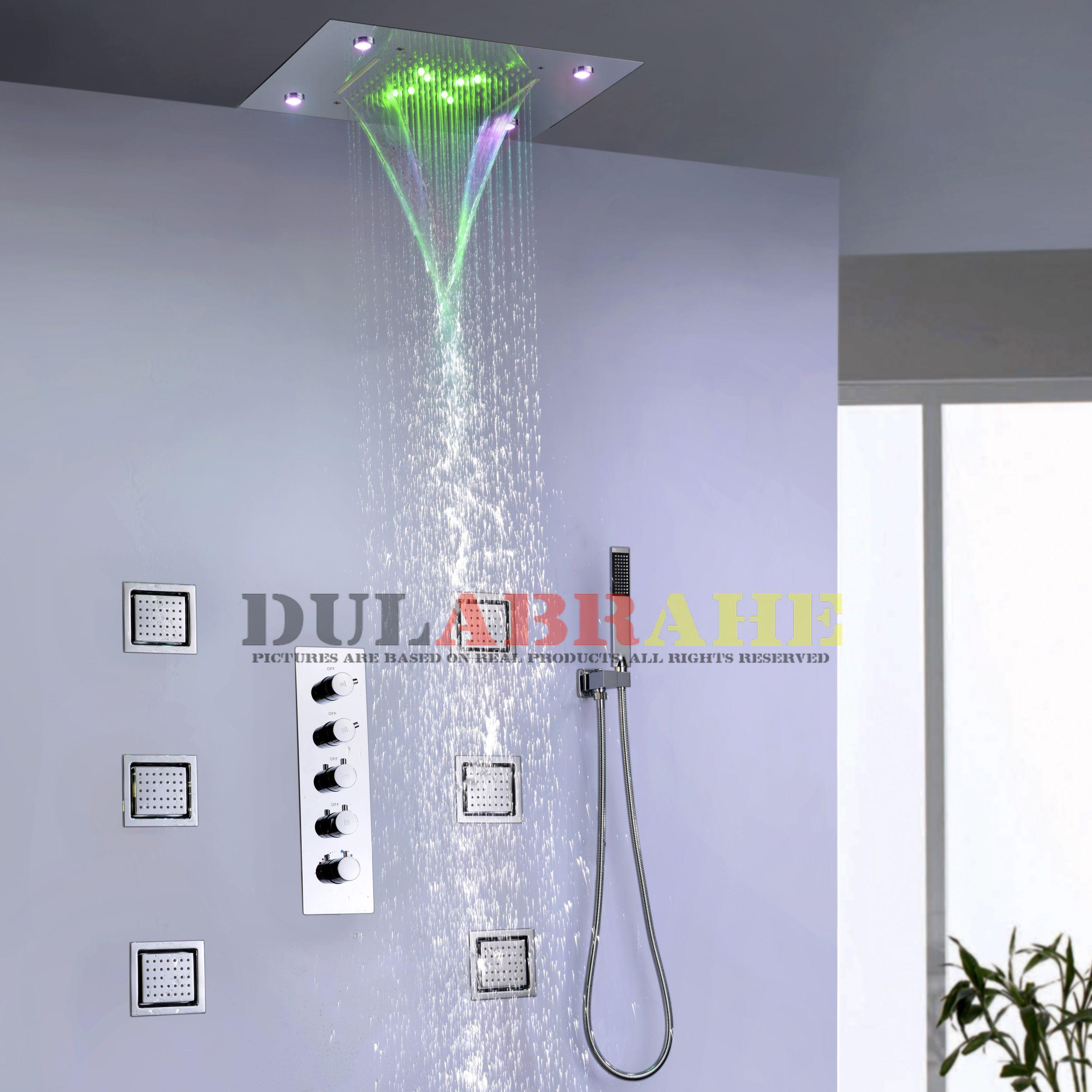 Thermostat Bad Mischer Bad Regen Dusche Wasserhahn Set Wasserfall Dusche System Decke LED Dusche Kopf