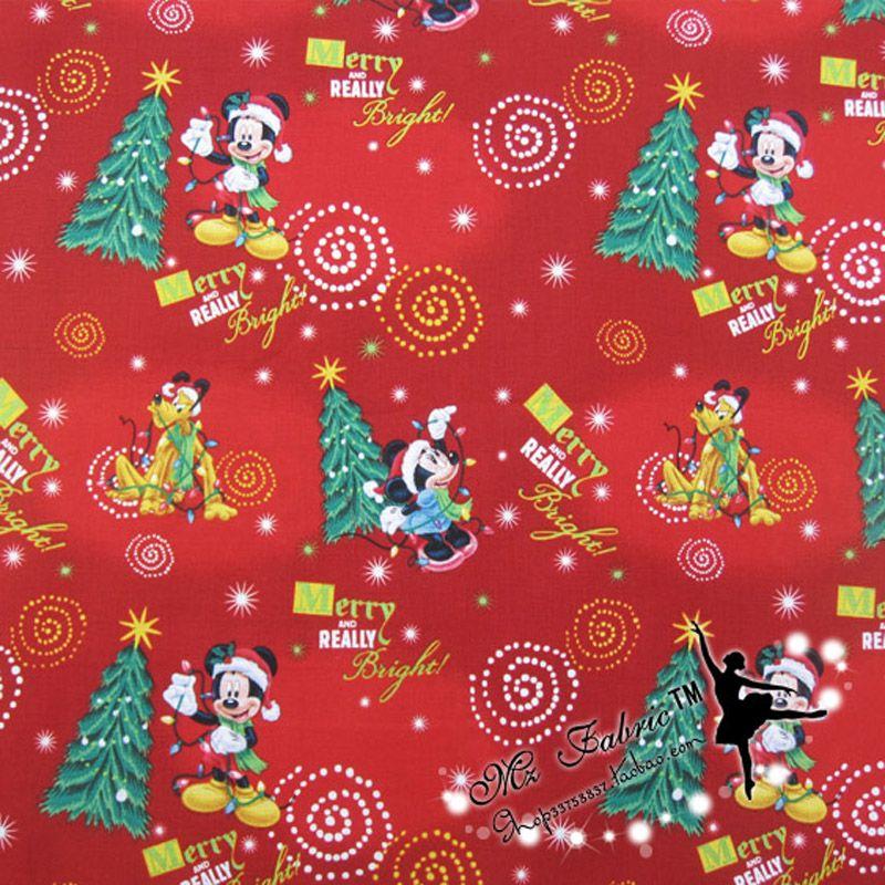 110 * 50cm1pc noël tissu 100% coton tissu noël Mickey imprimé tissu Patchwork Telas bricolage couture dames robe Quilting
