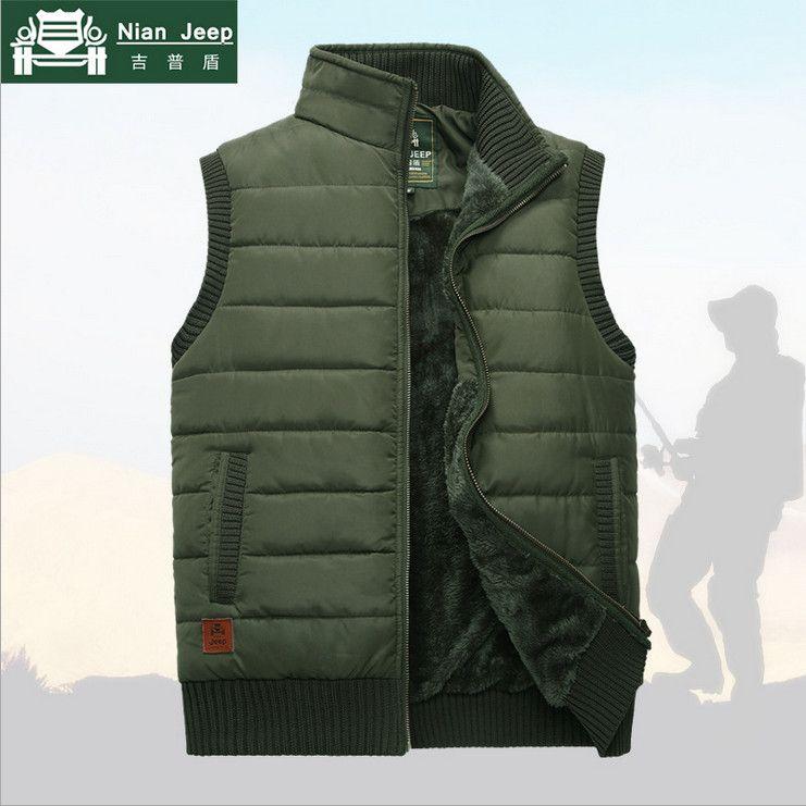 NIANJEEP Brand 2017 Autumn Winter Men Coat Warm Sleeveless Jacket Casual Men Vest Coat Fleece Army Green Waistcoat