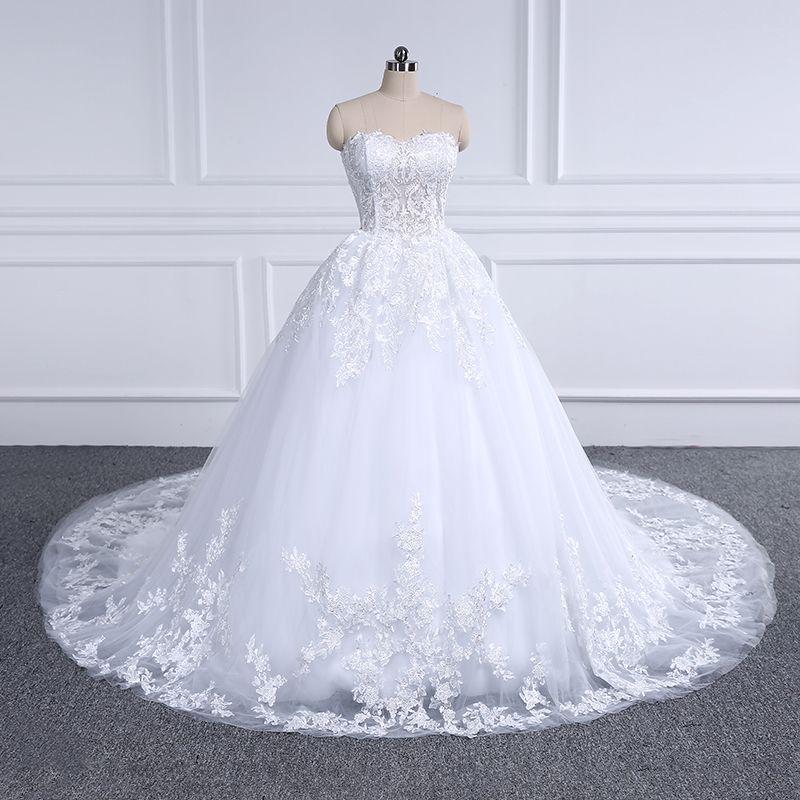 Luxury Lace Wedding Dress 2018 Sweetheart Appliques Ball Gown Bride Dresses Vestido De Noiva Robe De Mariee Custom Plus Size