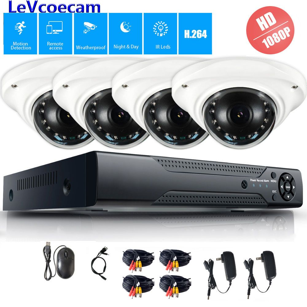 4CH 1080P DVR CCTV System 1TB HDD 2MP Dome AHD IR Night Waterproof Camera Outdoor Security Camera System Surveillance Kit