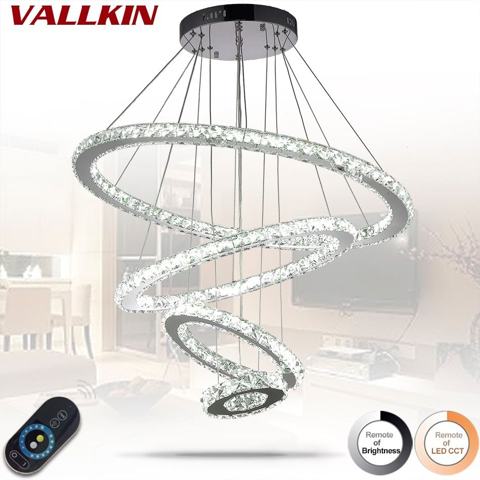 LED Crystal Ring Pendant Light Modern LED Circle Hanging Lamp Lights Light Fixture Ready Stock Home Decoration Dimmable