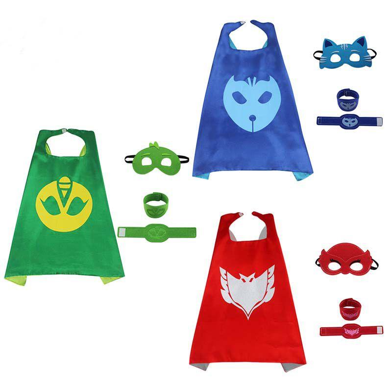 PJ Mask 4pcs/set PJ Masks cloak Cape and Mask Owlette Catboy Gecko Cosplay Action Toys For Children Gift